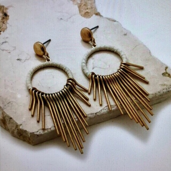 Jewelry - Small brass hoop earrings with white suede